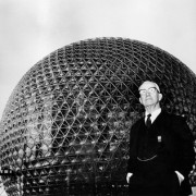 Buckminster Fuller in front of a Geodesic Dome